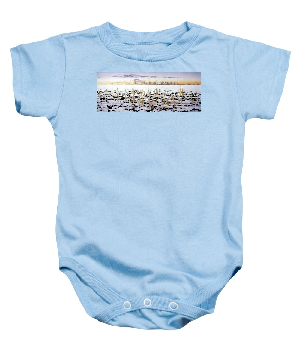 Winter Baby Onesie featuring the painting Cornfield In Winter by Conrad Mieschke