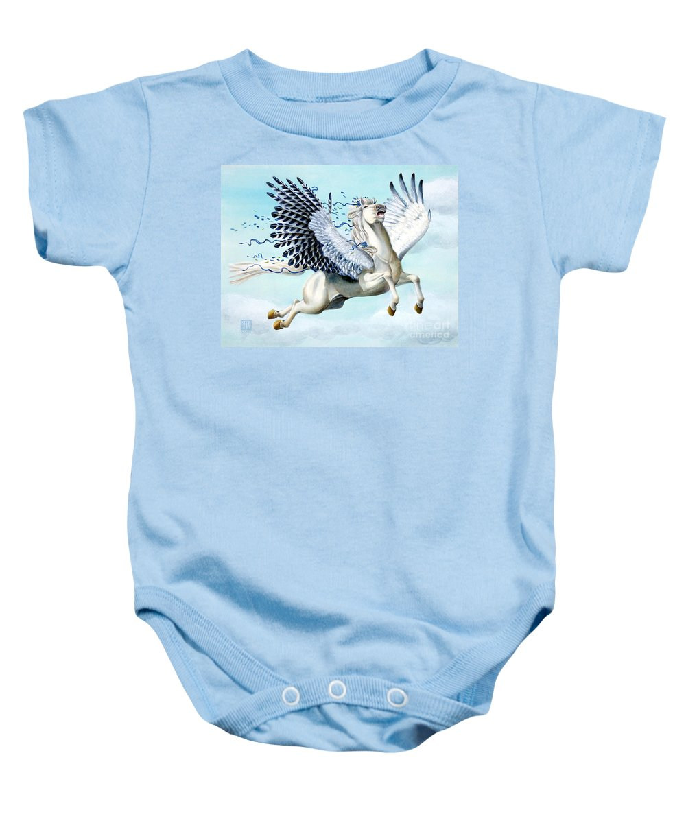 Artwork Baby Onesie featuring the painting Cory Pegasus by Melissa A Benson