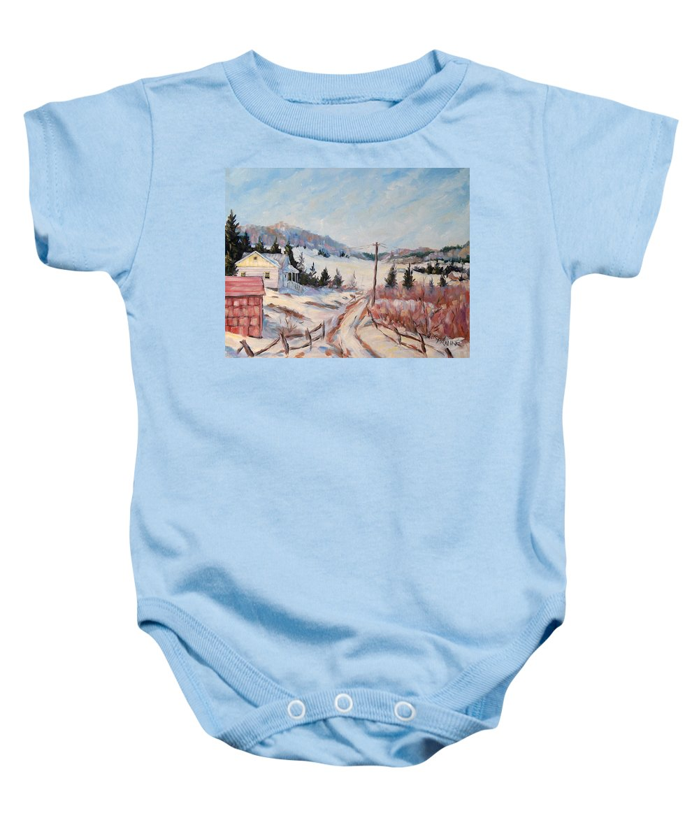 Road Baby Onesie featuring the painting Cottage Road by Richard T Pranke