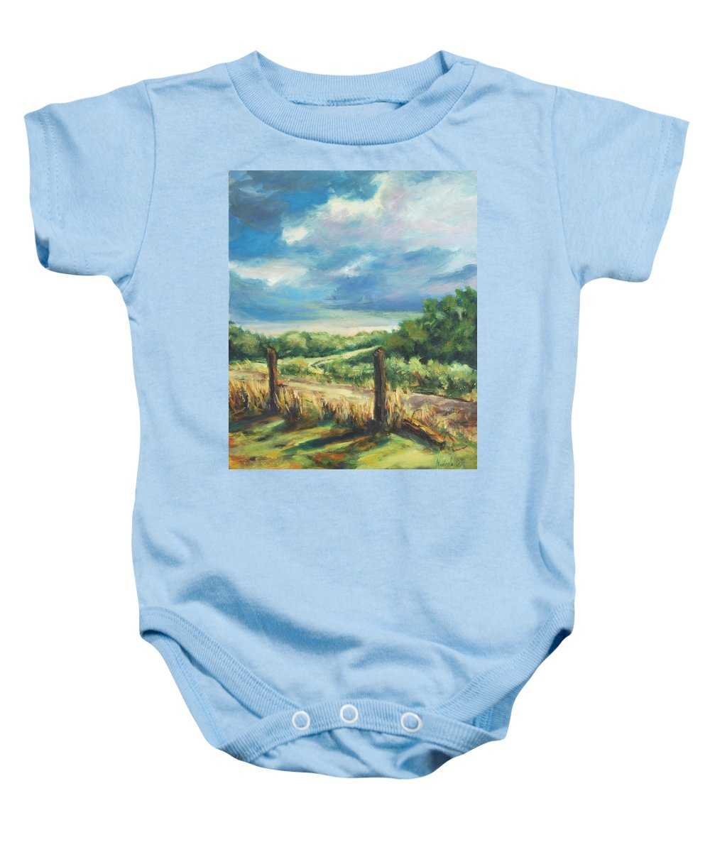 Clouds Baby Onesie featuring the painting Country Road by Rick Nederlof