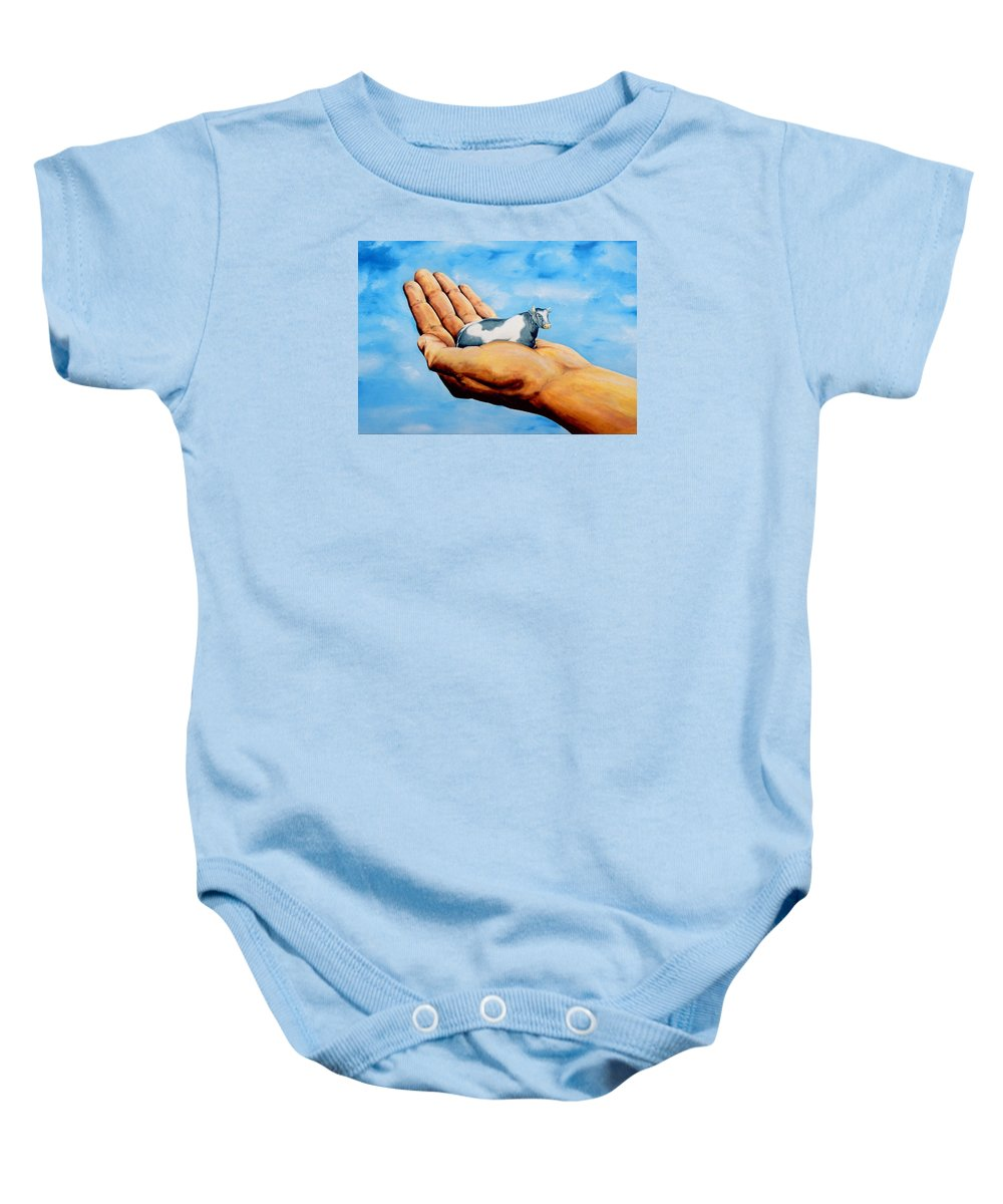 Surreal Baby Onesie featuring the painting Cow In Hand by Mark Cawood