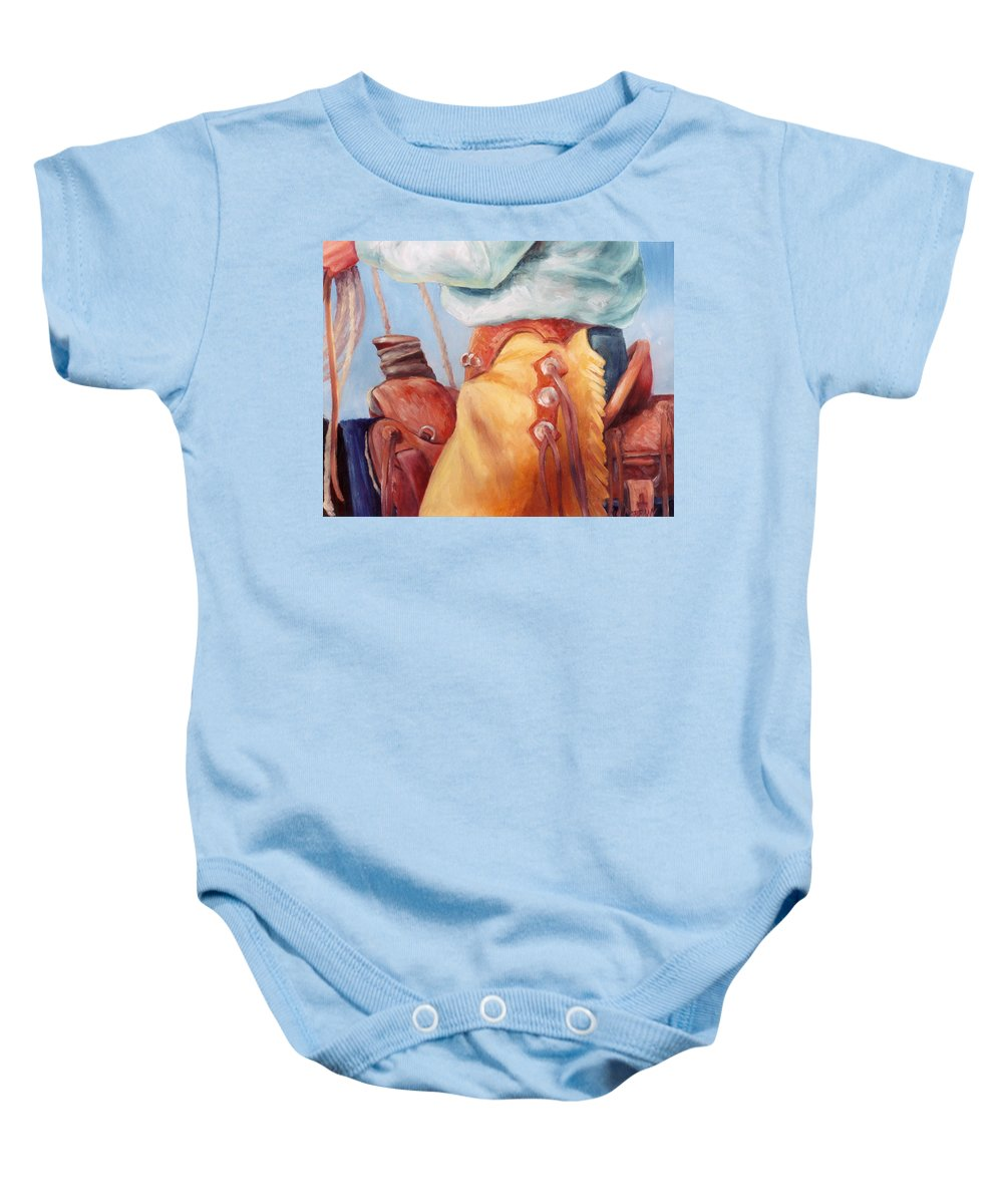 Cowboy Baby Onesie featuring the painting Cowboy Armor Western Cowboy Oil Painting by Kim Corpany
