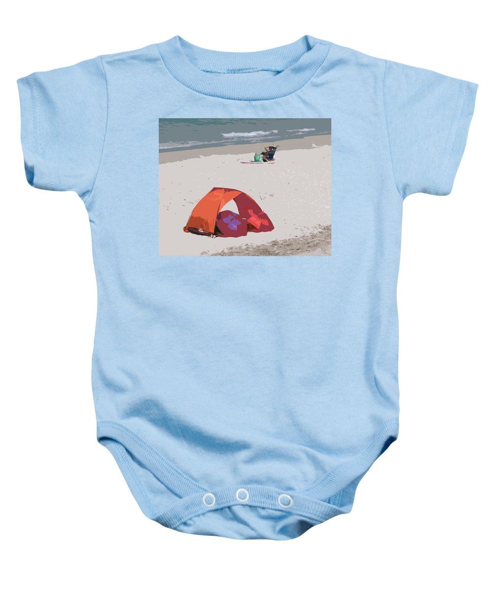Florida Baby Onesie featuring the painting Cozy Hide-a-way For Two On A Florida Beach by Allan Hughes