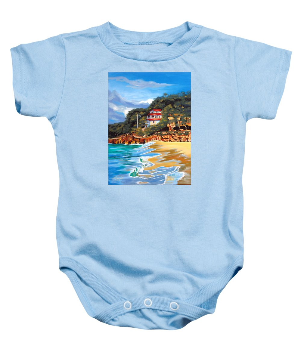 Ocean Baby Onesie featuring the painting Crash Boat Beach by Milagros Palmieri