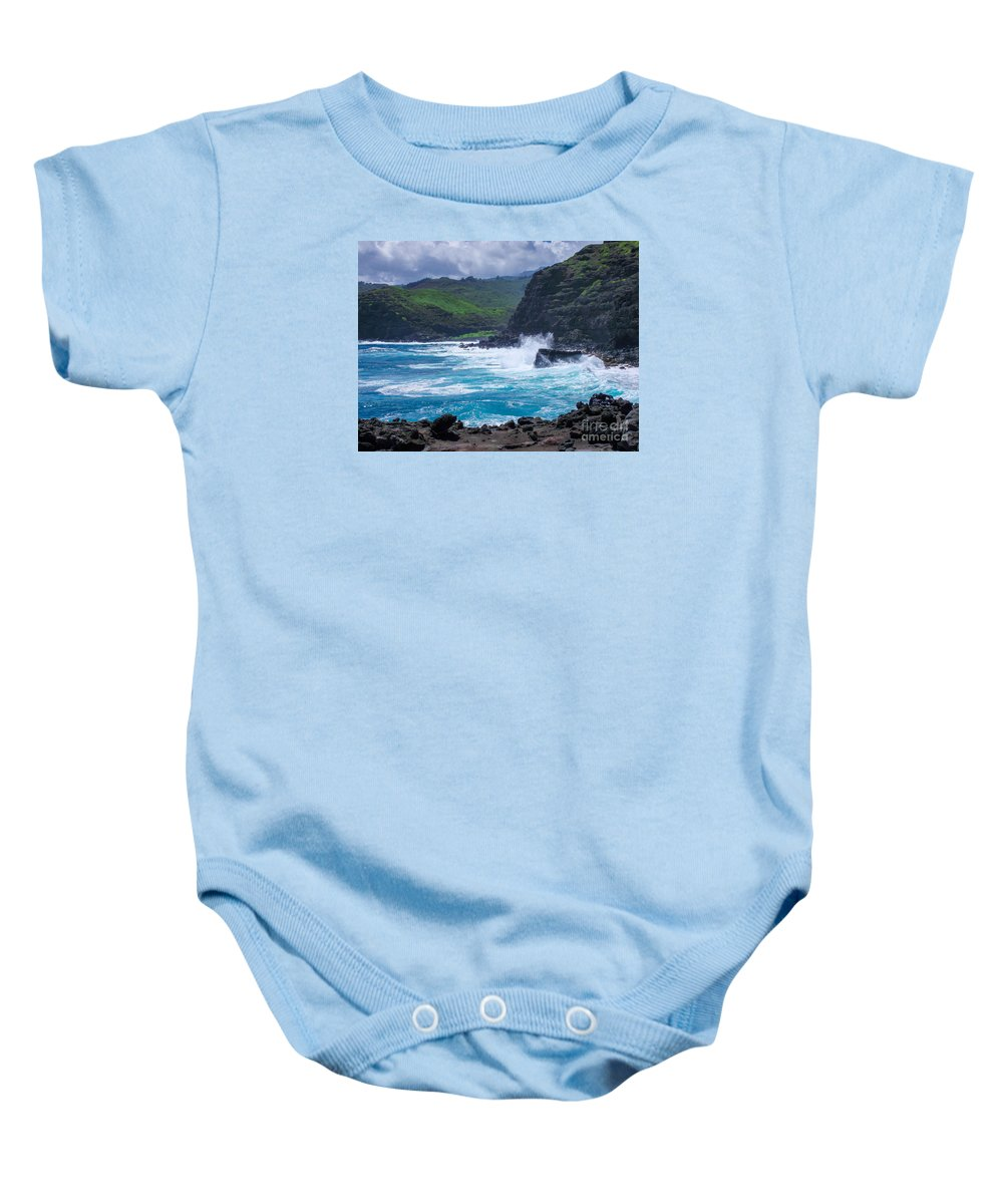 Hawaii Baby Onesie featuring the photograph Crashing Waves - Nakalele Point by New Heights Aerial Photography
