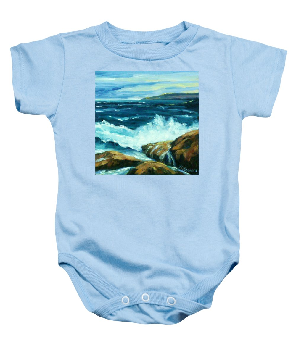 Sea Baby Onesie featuring the painting Crashing Waves by Richard T Pranke