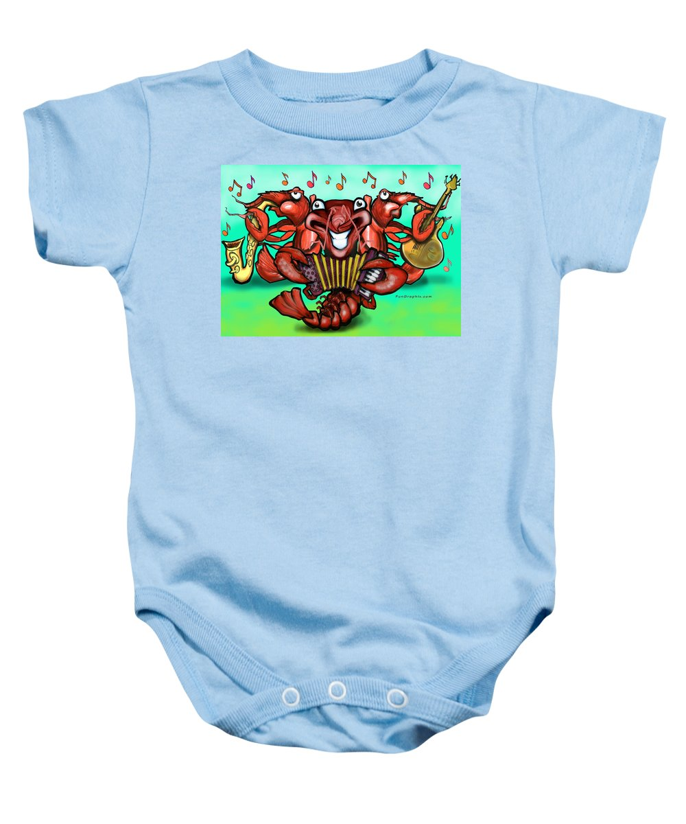 Crawfish Baby Onesie featuring the greeting card Crawfish Band by Kevin Middleton