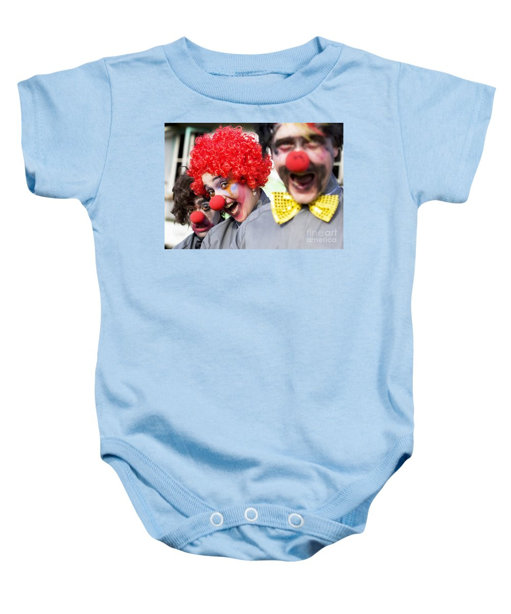 Acting Baby Onesie featuring the photograph Crazy Circus Clowns by Jorgo Photography - Wall Art Gallery