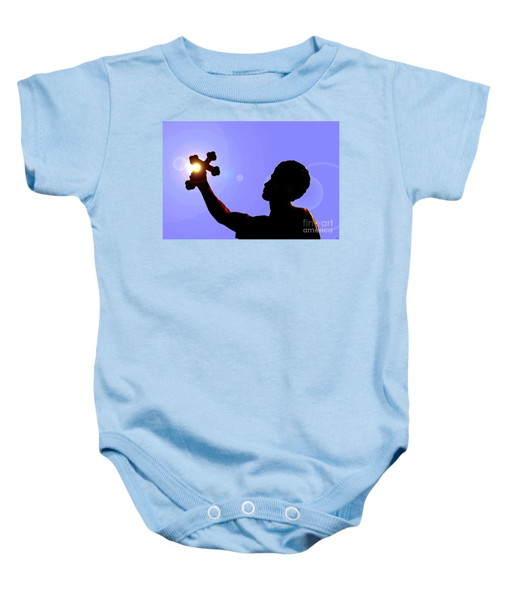 Cross Baby Onesie featuring the painting Cross And Sun by David Lee Thompson