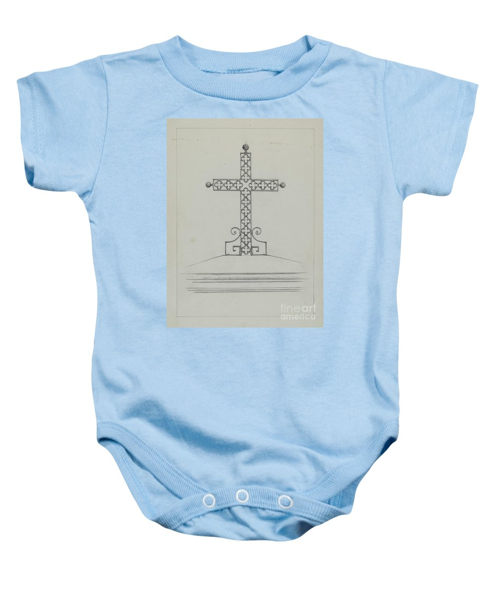 Baby Onesie featuring the drawing Cross by Arelia Arbo