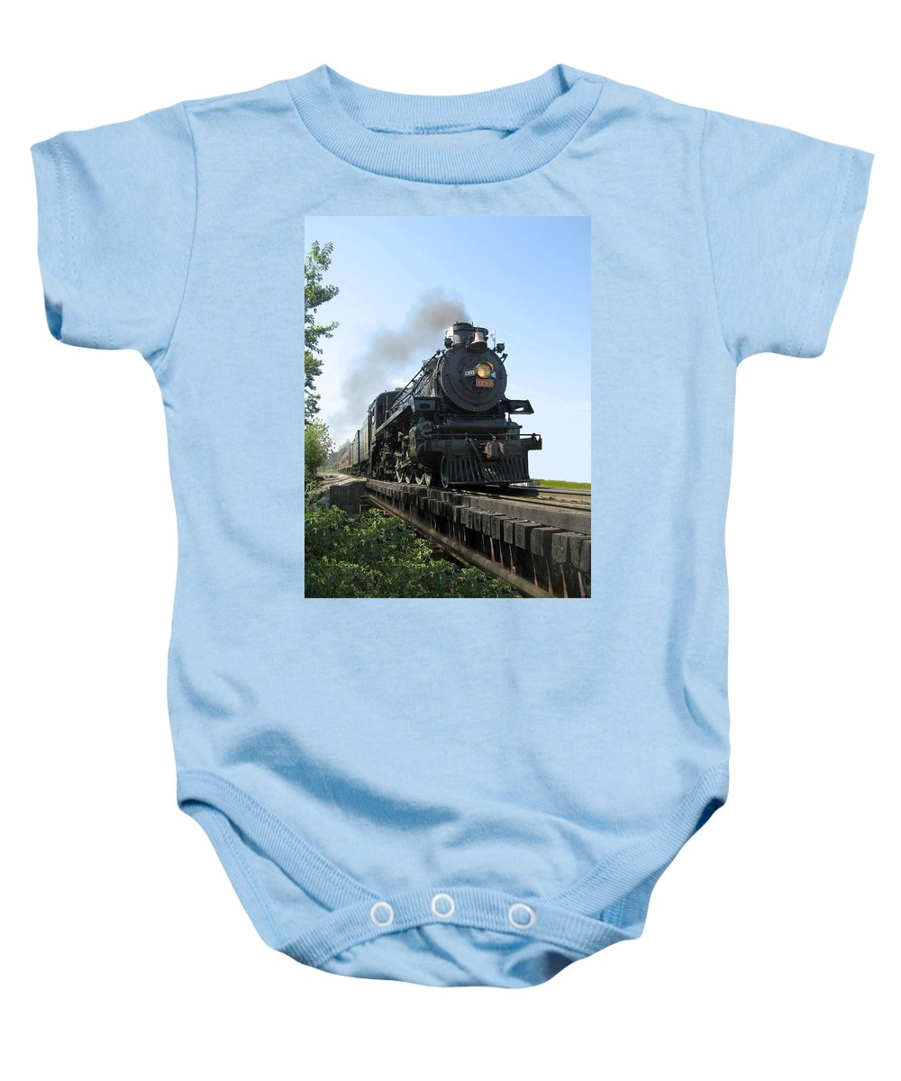 Historic Baby Onesie featuring the photograph Crossing The Trestle by Carolyn Jacob