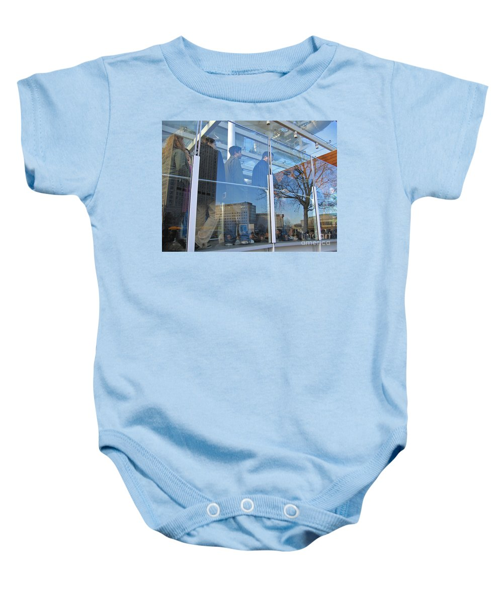 London Baby Onesie featuring the photograph Crowd Queuing Up by Ann Horn