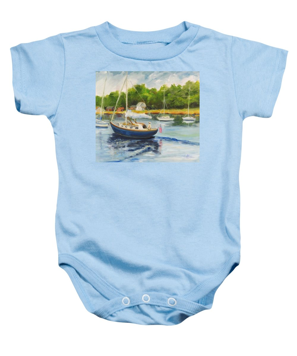 Seascape Baby Onesie featuring the painting Cruising The Cape by Jean Costa