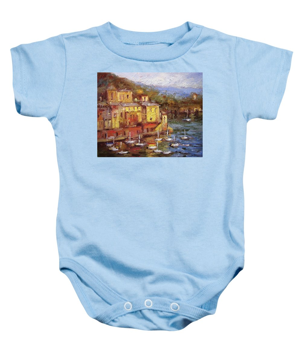 Paintings Of Portofino Baby Onesie featuring the painting Crunchy Porto II by R W Goetting