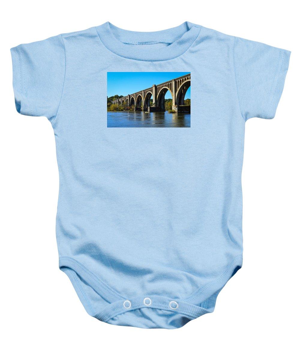 Bridge Baby Onesie featuring the photograph Csx A-line Bridge by Aaron Dishner