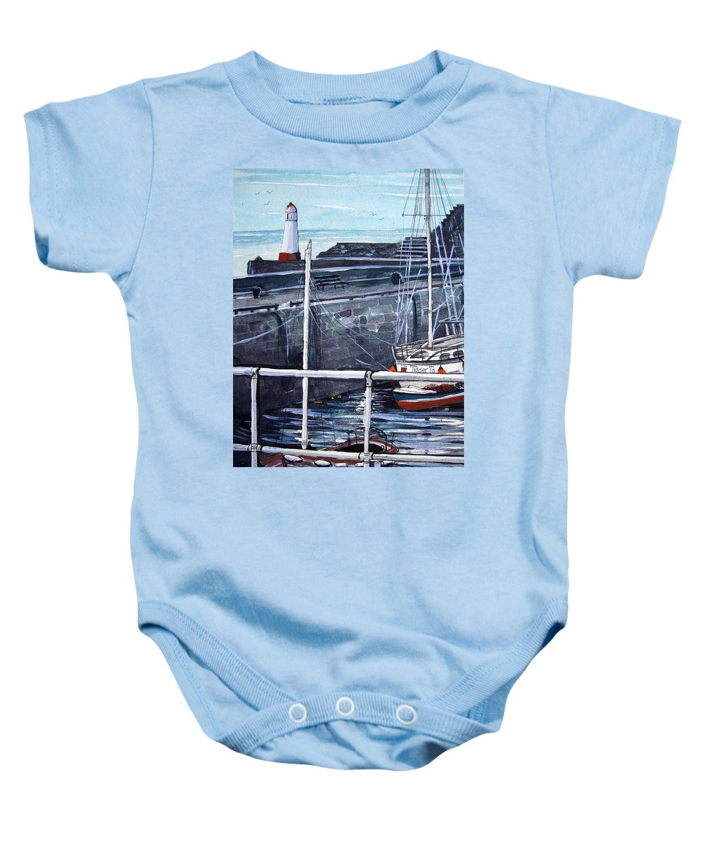Cullen Baby Onesie featuring the painting Cullen Beacon by Trudy Kepke