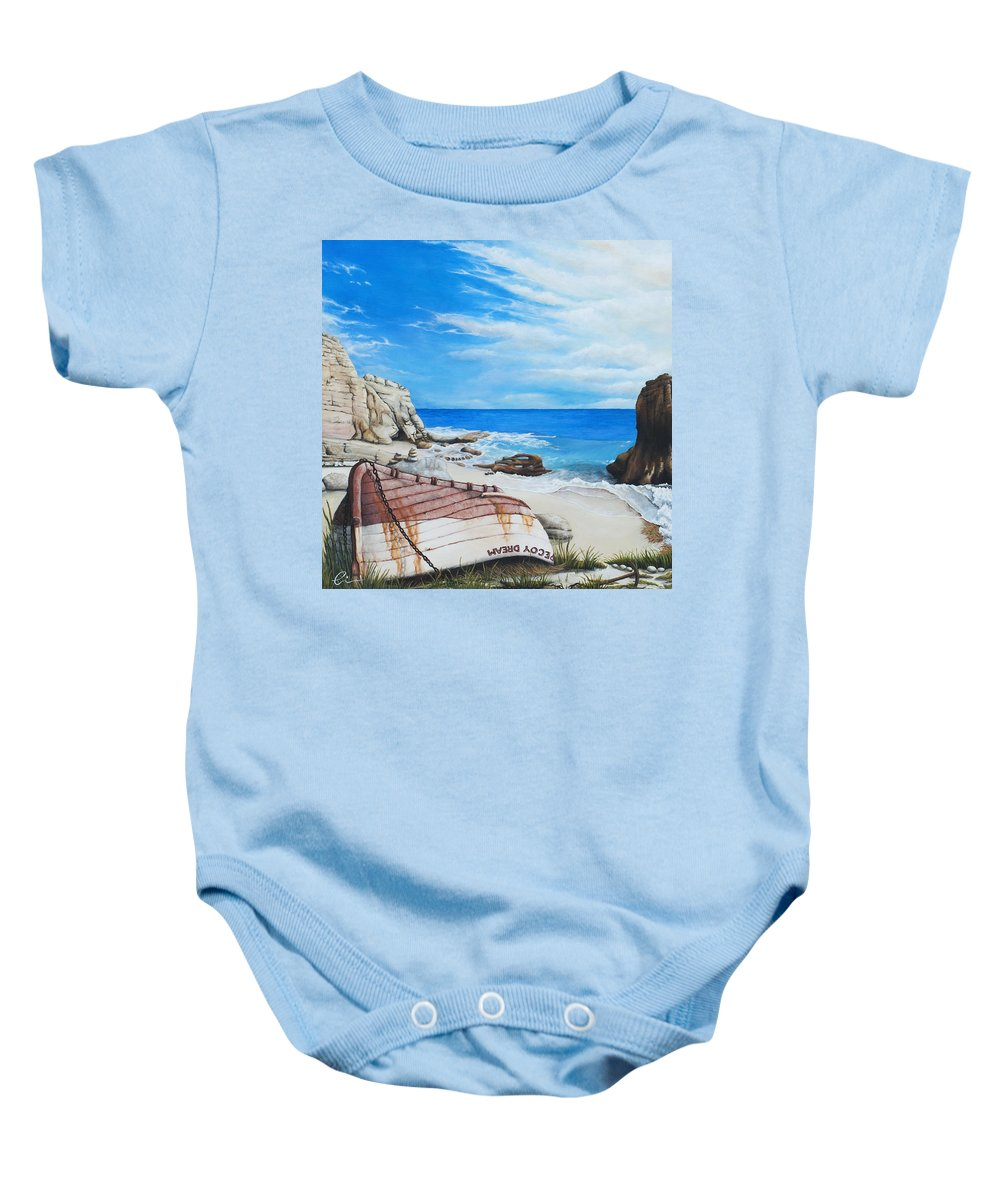 Sint Maarten Baby Onesie featuring the painting Cupecoy Dream by Cindy D Chinn
