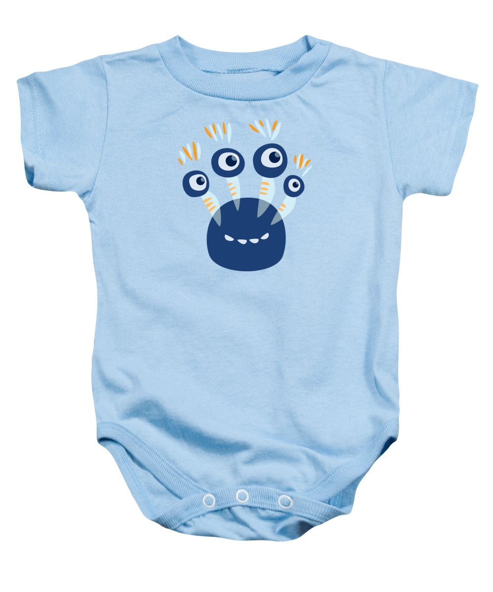 65f2cb6731ee Vector Baby Onesie featuring the digital art Cute Blue Four Eyed Monster by  Boriana Giormova