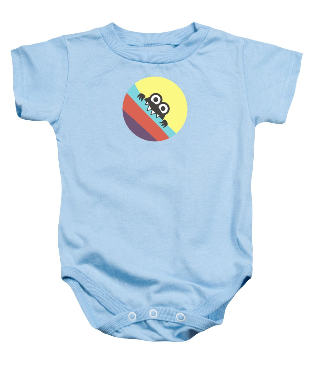 Colorful Baby Onesie featuring the digital art Cute Bug Bites Candy Colored Stripes by Boriana Giormova