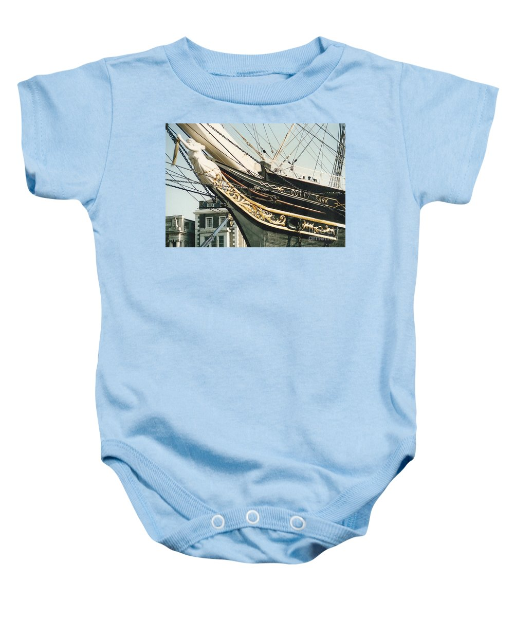 Ship Baby Onesie featuring the photograph Cutty Sark by Mary Rogers