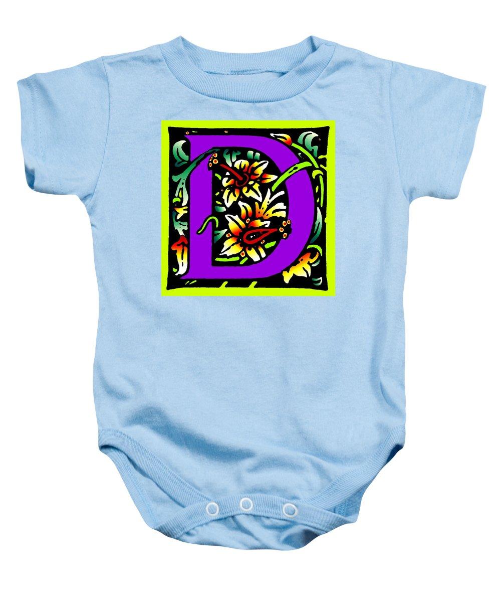 Alphabet Baby Onesie featuring the digital art D In Purple by Kathleen Sepulveda