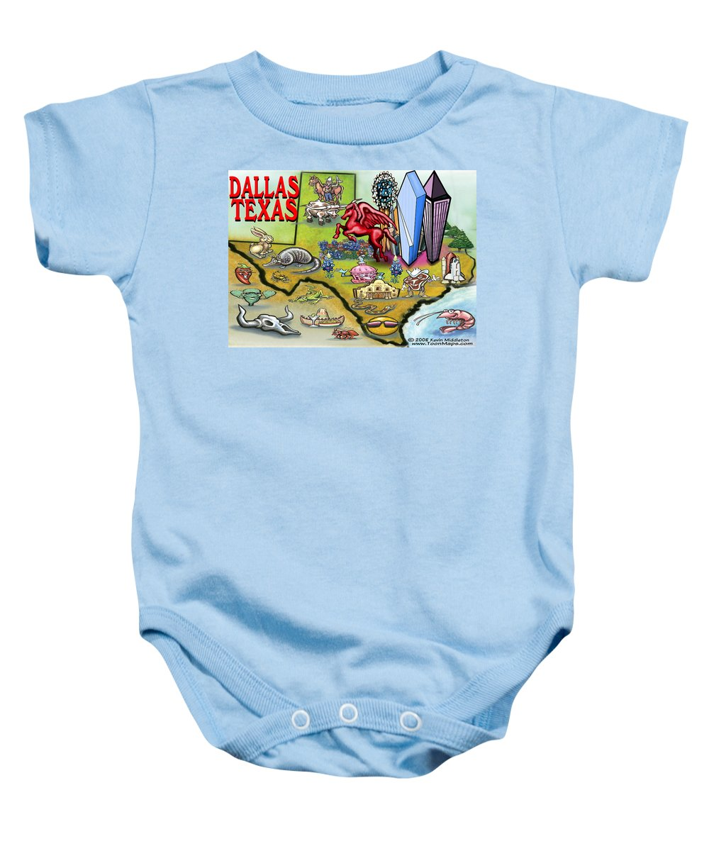 Dallas Baby Onesie featuring the digital art Dallas Texas Cartoon Map by Kevin Middleton