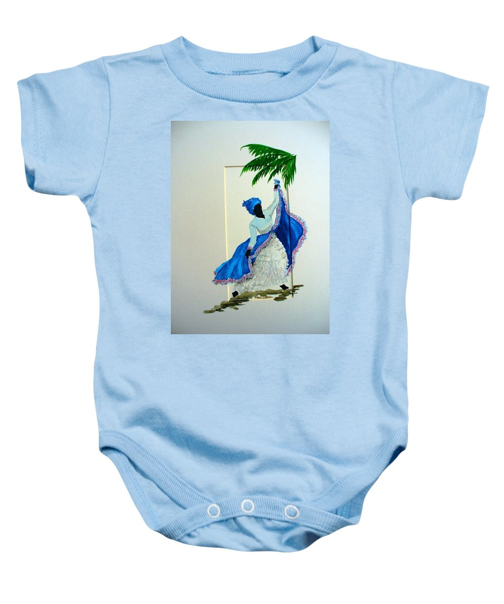 Folk Dance Caribbean Tropical Baby Onesie featuring the painting Dance De Pique by Karin Dawn Kelshall- Best