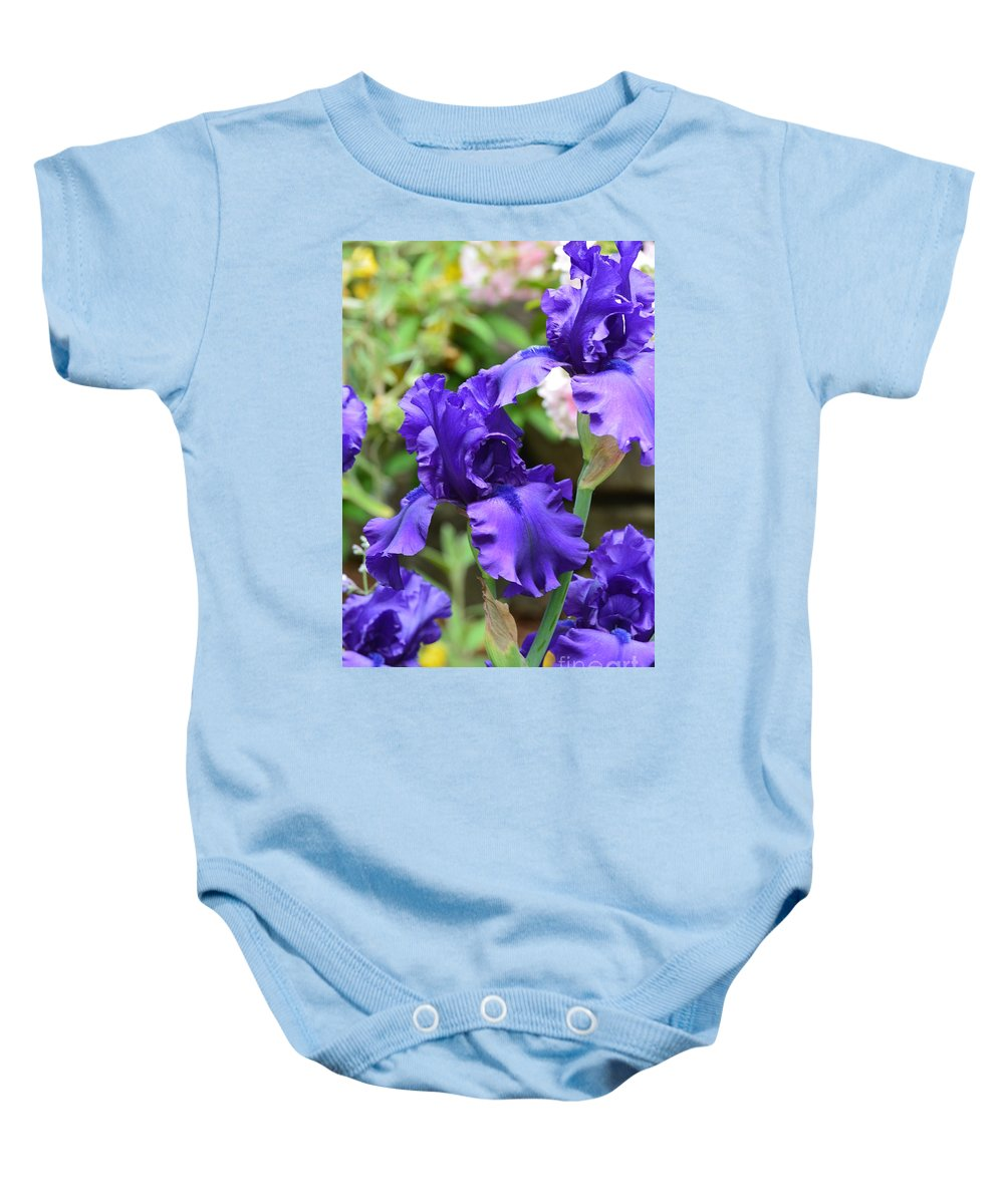 Dancing Blue Irises Baby Onesie featuring the photograph Dancing Blue Irises by Maria Urso