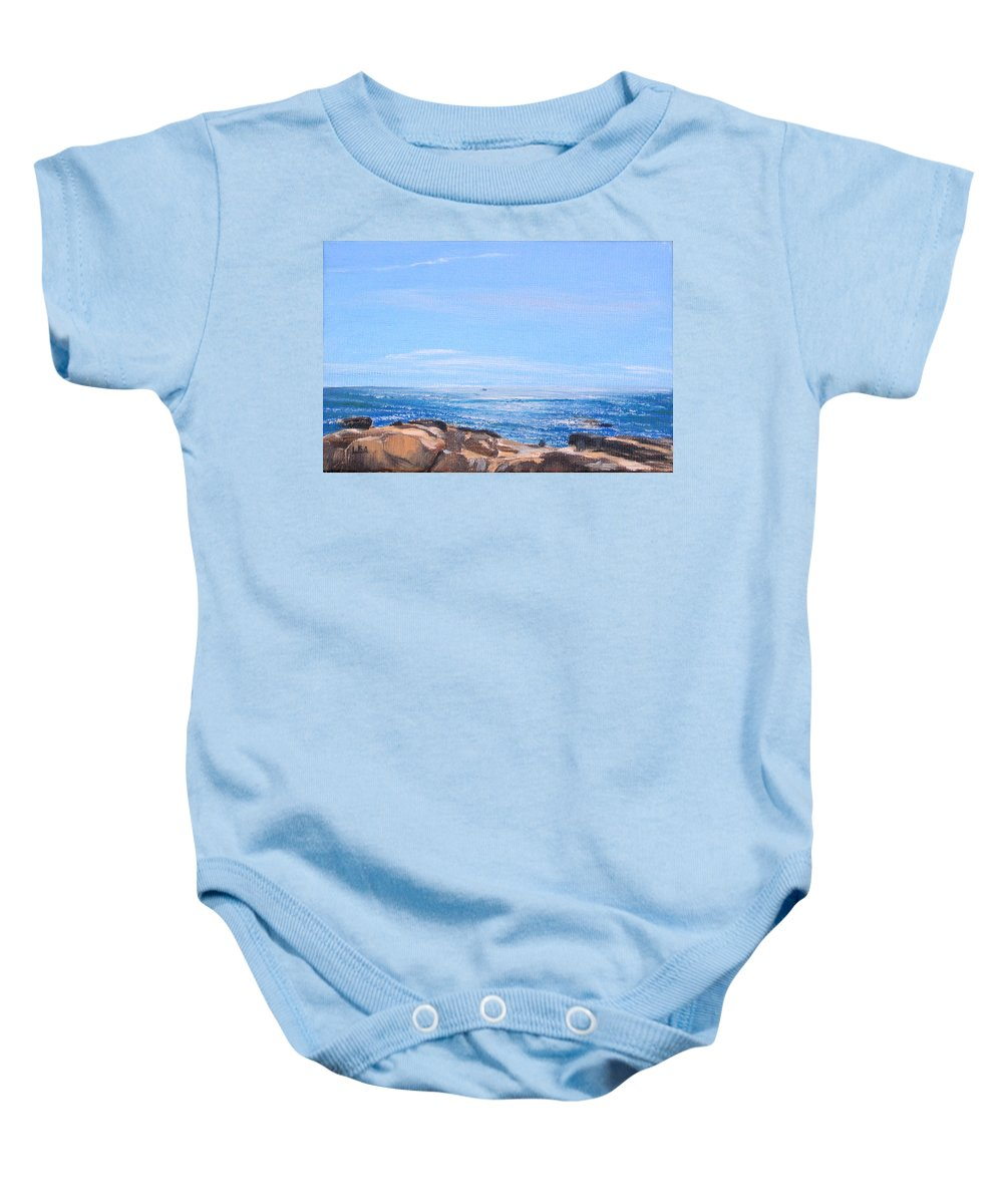 Seascape Baby Onesie featuring the painting Dancing Light by Lea Novak