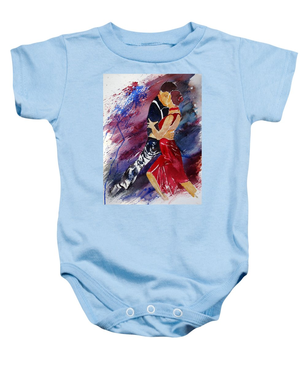 Tango Baby Onesie featuring the painting Dancing Tango by Pol Ledent