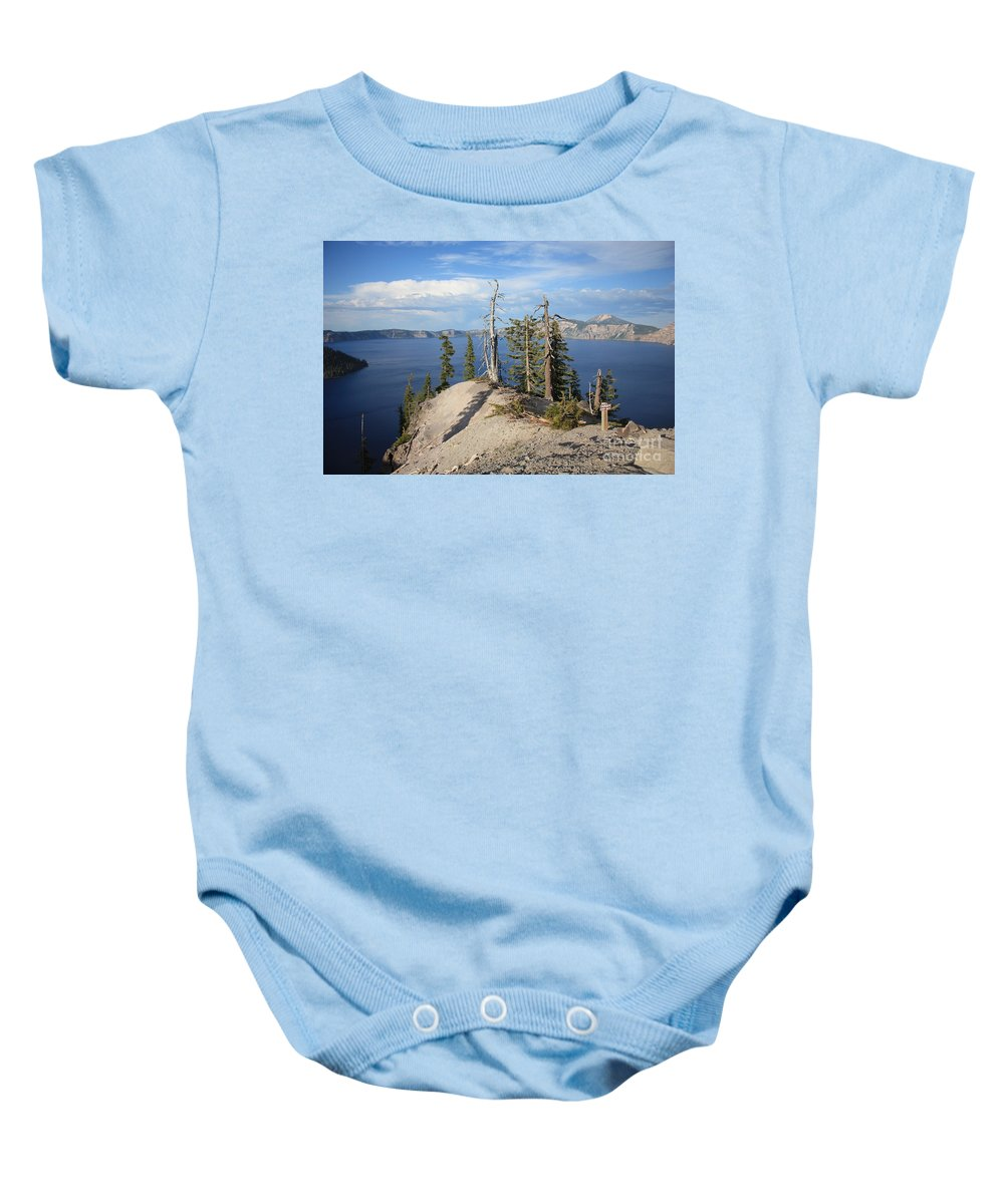 Crater Lake Baby Onesie featuring the photograph Dangerous Slope At Crater Lake by Carol Groenen
