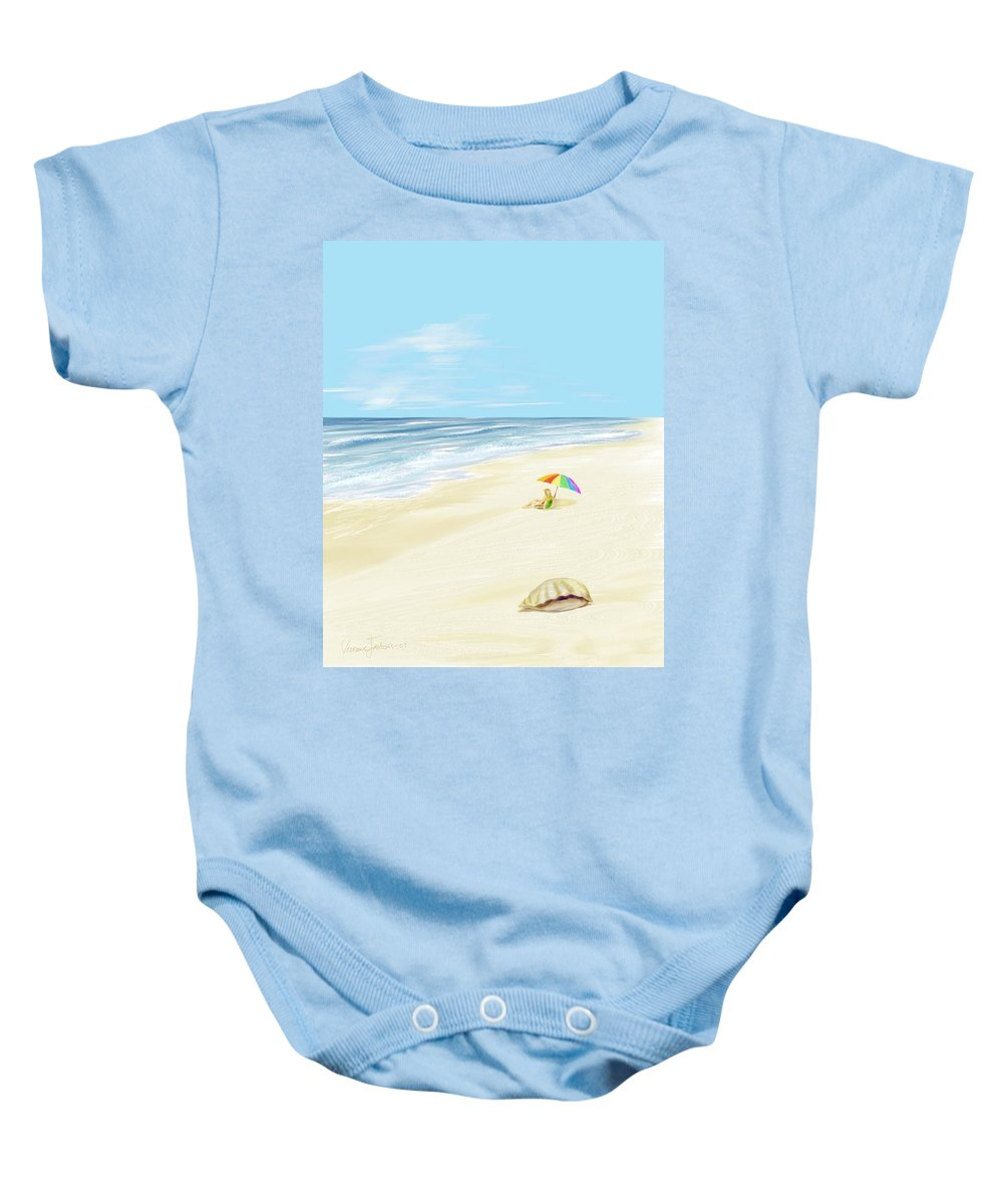 Beach Summer Sun Sand Waves Shells Baby Onesie featuring the digital art Day At The Beach by Veronica Jackson