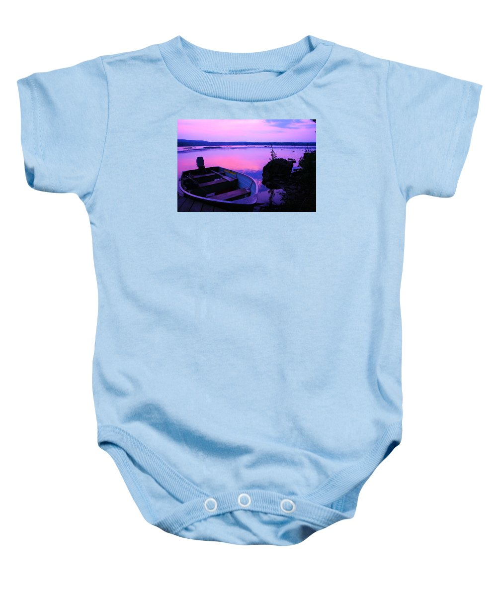 Boat Baby Onesie featuring the photograph Day Is Done by Dawn Zemaitis