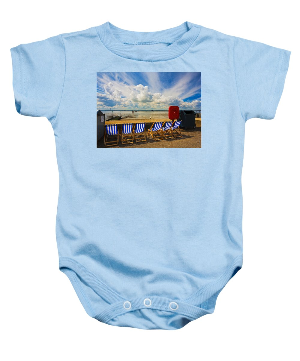 Southend On Sea Baby Onesie featuring the photograph Deck Chairs At Southend On Sea by Sheila Smart Fine Art Photography