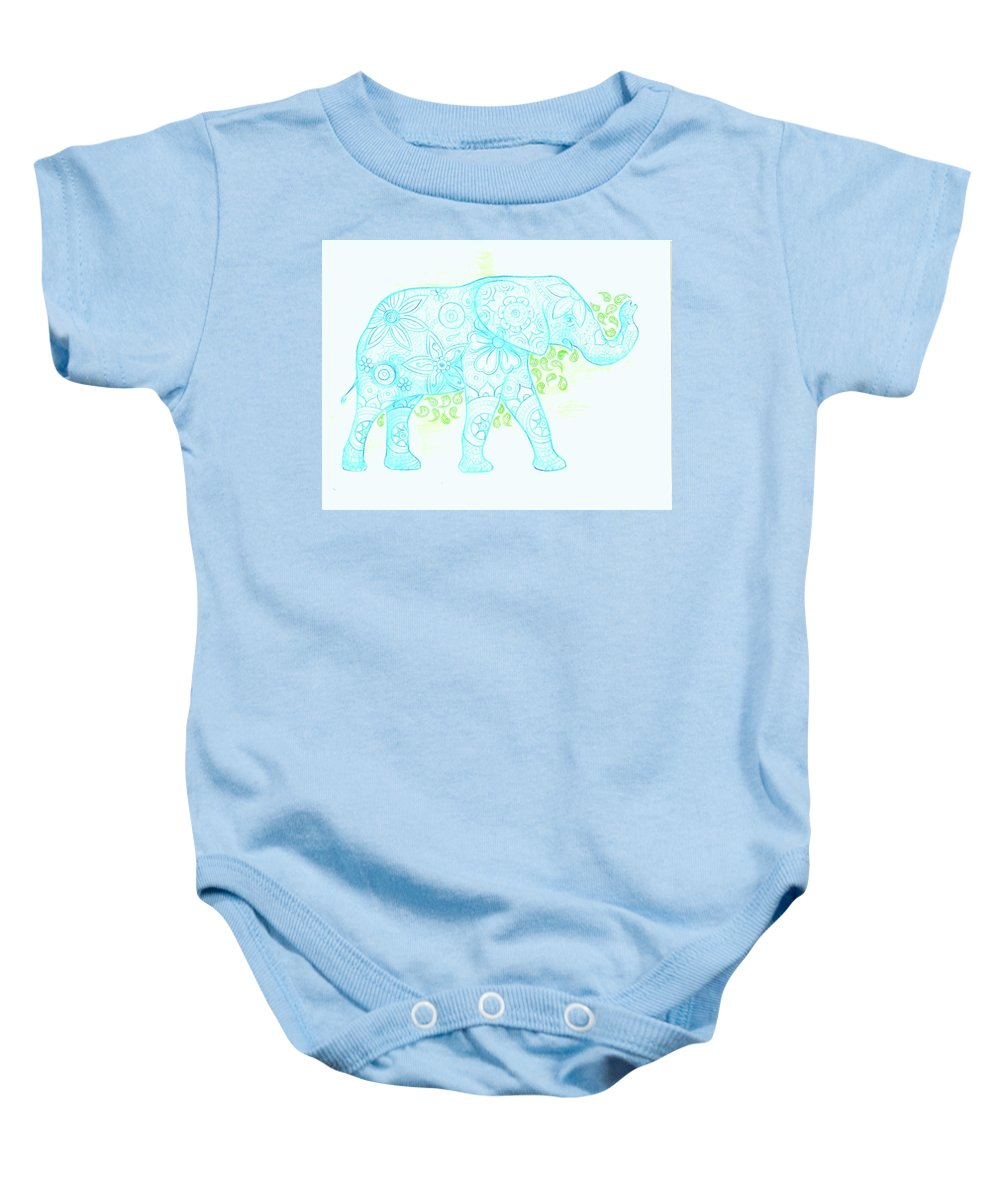 Elephant Baby Onesie featuring the drawing Decorated Elephant by Emily Page