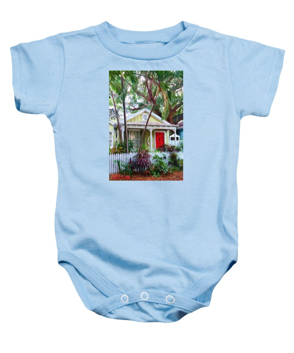 Tropical Baby Onesie featuring the painting Dee Dee's Cottage by Susie Shaw