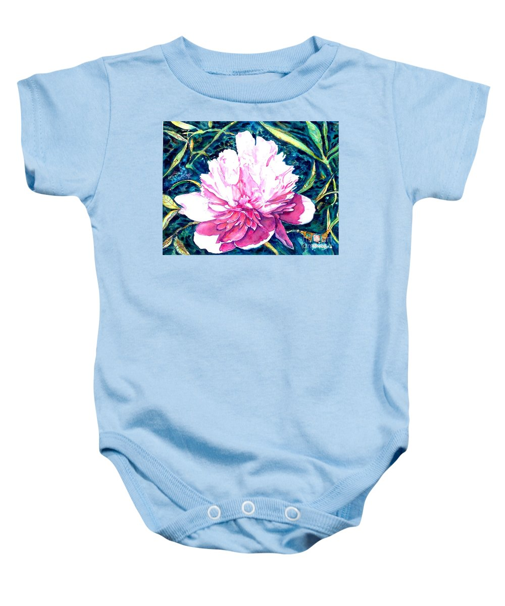 Peony Baby Onesie featuring the painting Delightful Peony by Norma Boeckler