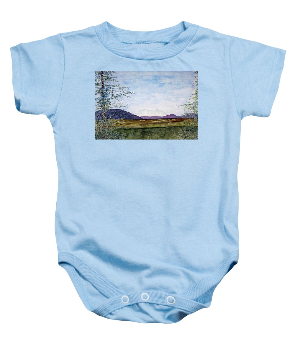 Alaska Art Baby Onesie featuring the painting Denali In July by Larry Wright