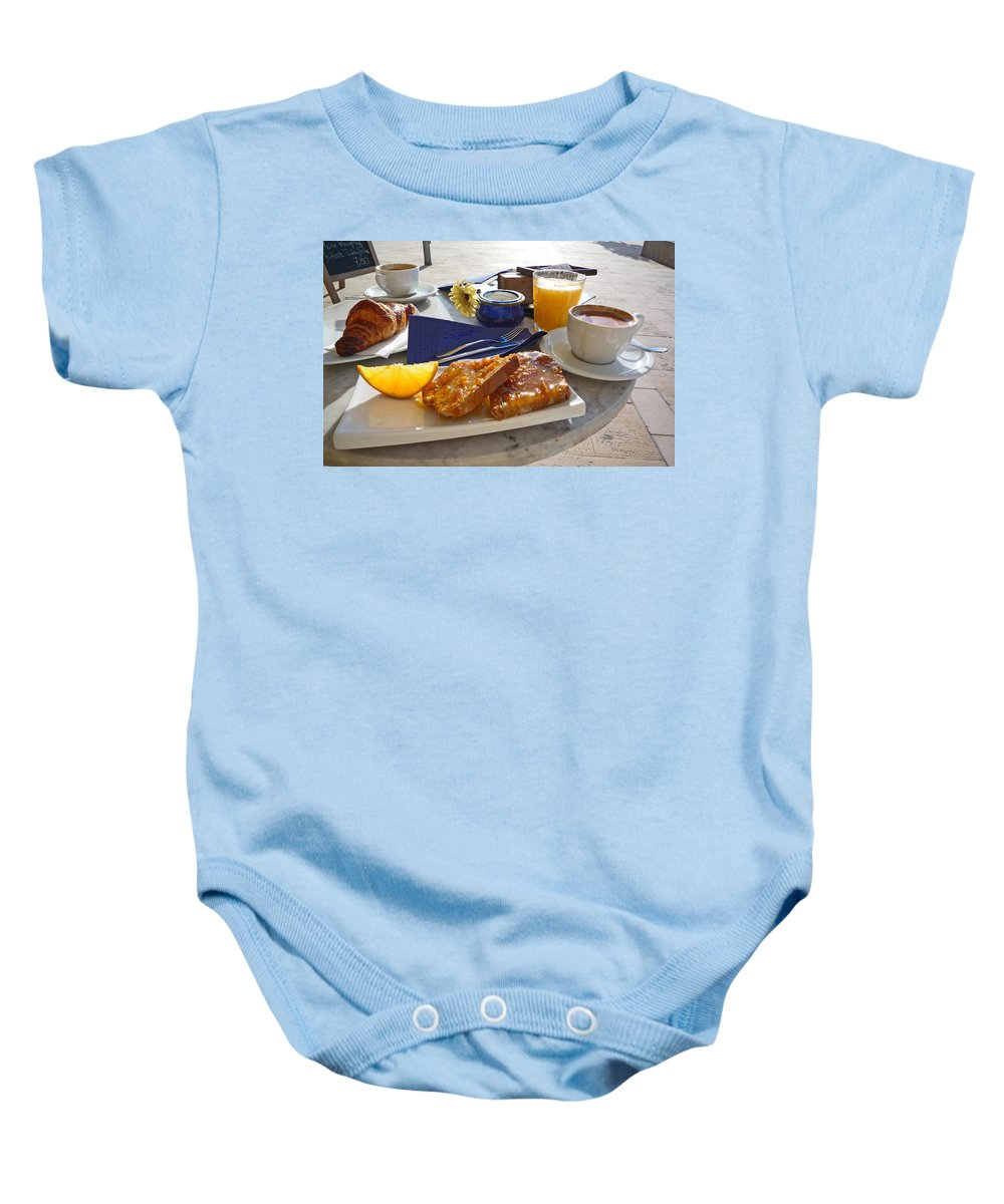 Breakfast Baby Onesie featuring the photograph Desayuno by Charles Stuart