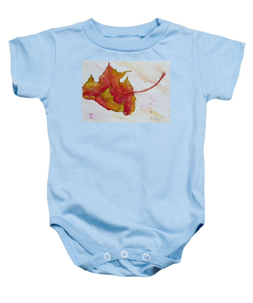 Fall Baby Onesie featuring the painting Descending by Ruth Kamenev
