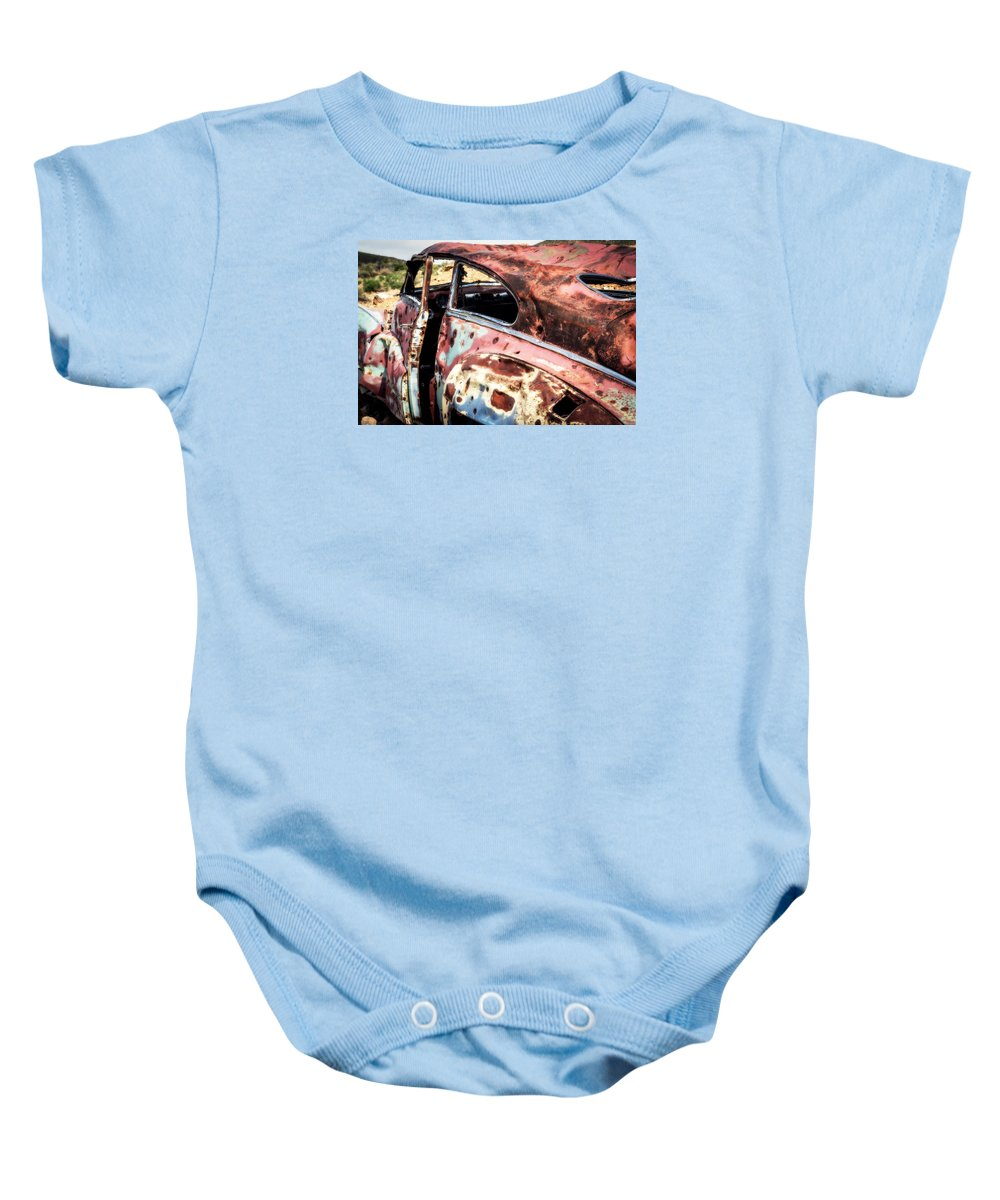 Desert Drive Baby Onesie featuring the photograph Desert Drive by Karma Boyer
