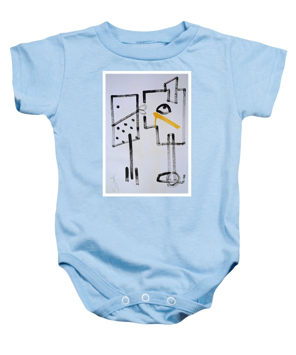 Drawing Baby Onesie featuring the painting Desperados Waiting For A Train by Charles Stuart