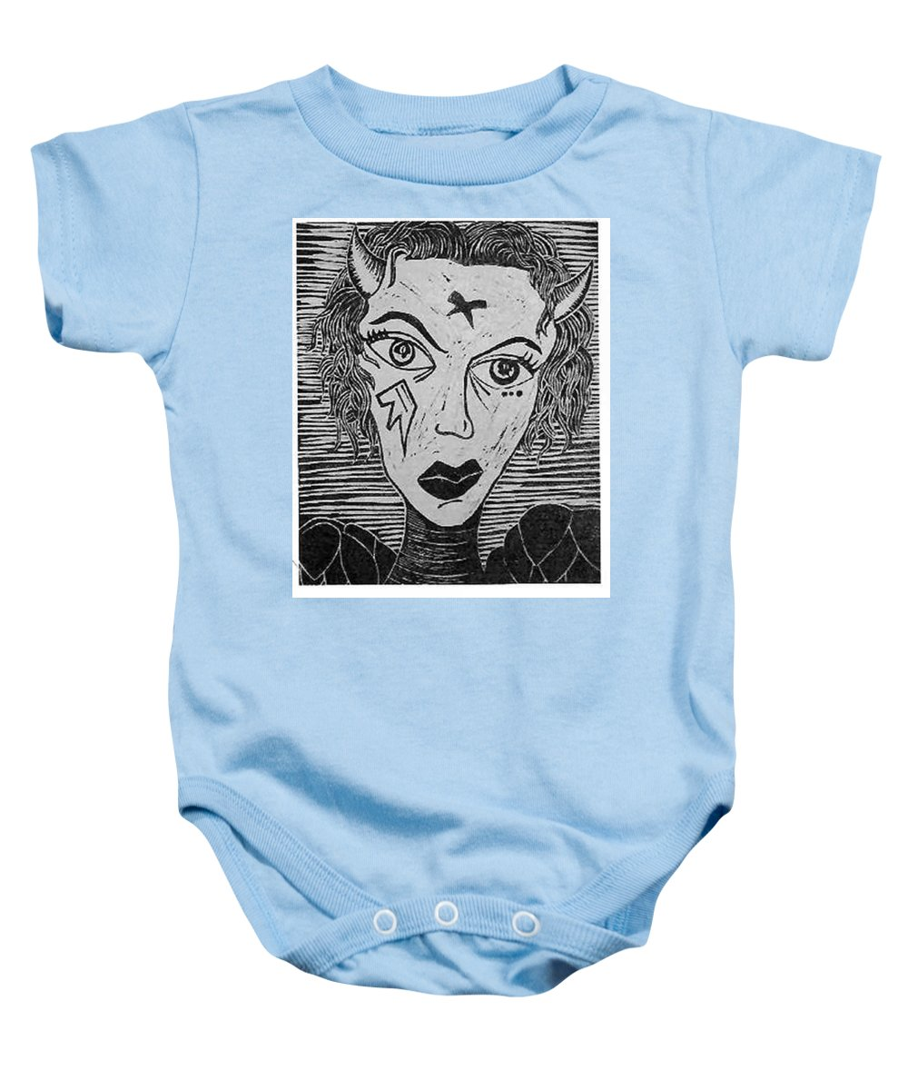 Prints Baby Onesie featuring the print Devil Print Two Out Of Five by Thomas Valentine