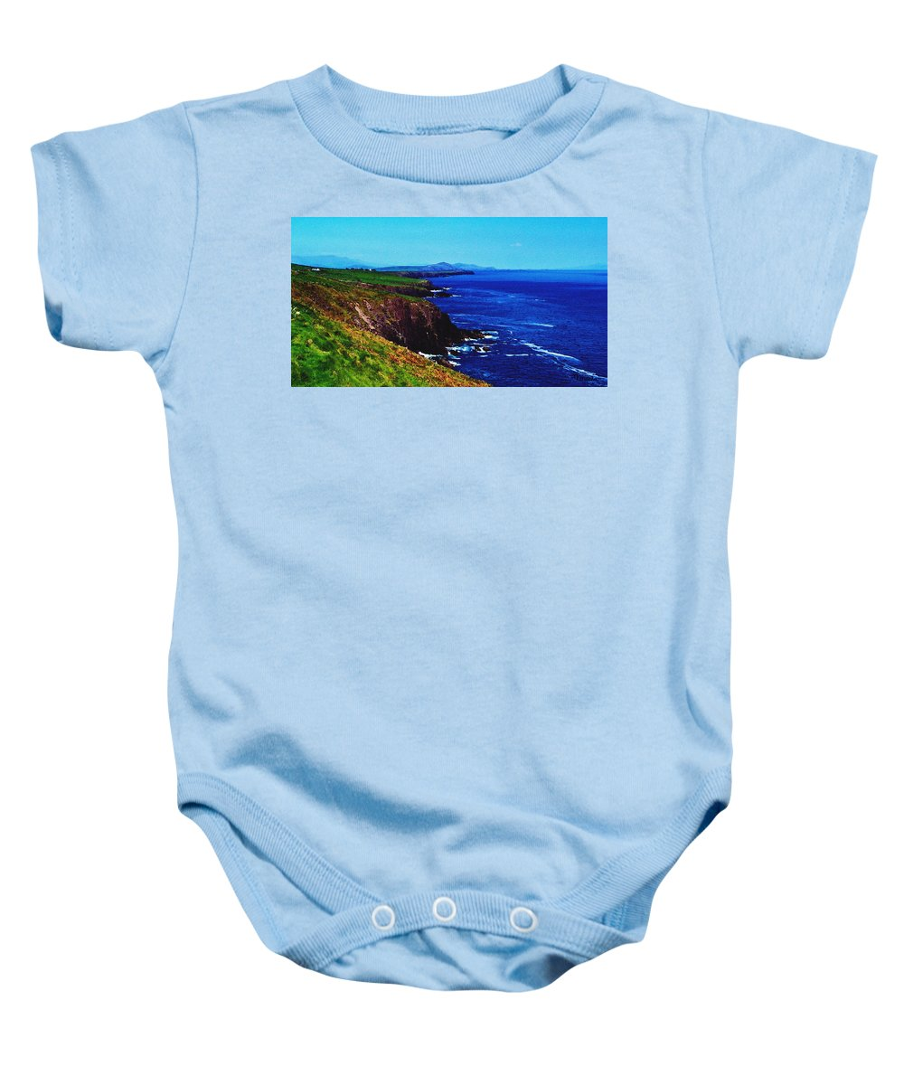 Irish Baby Onesie featuring the digital art Dingle Coastline Near Fahan Ireland by Teresa Mucha