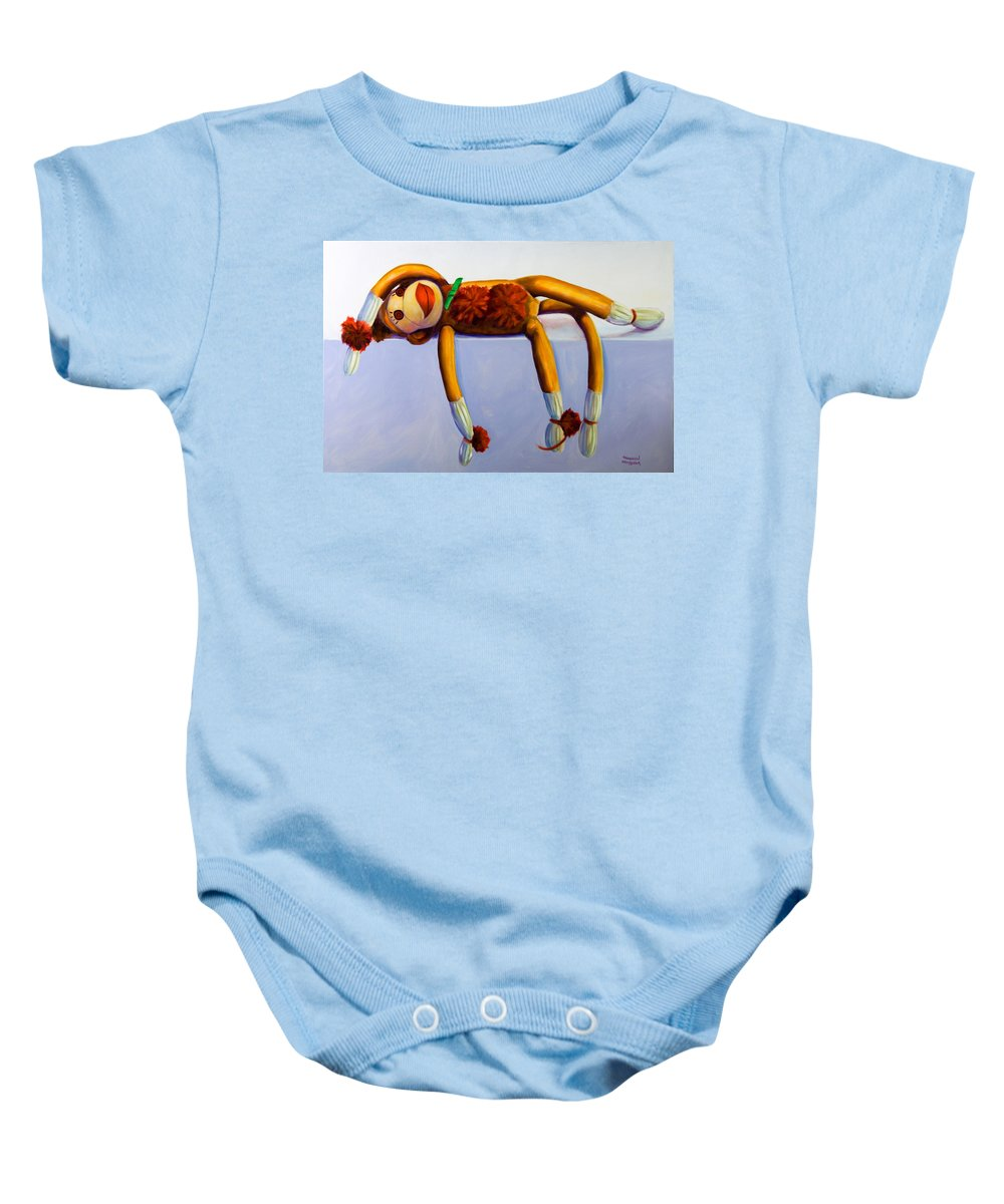 Diva Baby Onesie featuring the painting Diva Made Of Sockies by Shannon Grissom