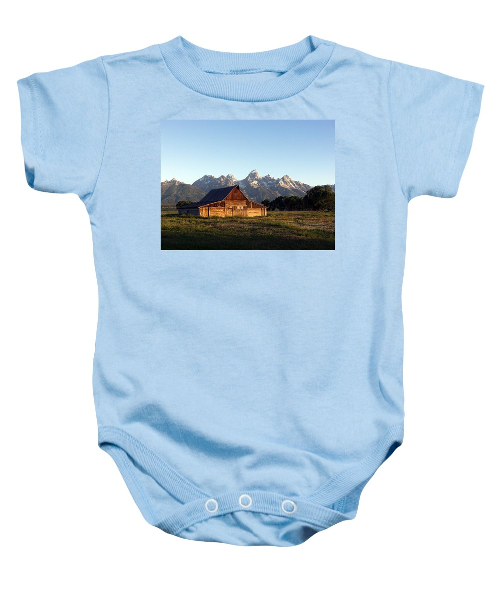 Landscape Yellowstone Grand Tetons Cabin Baby Onesie featuring the photograph Dnrd0104 by Henry Butz