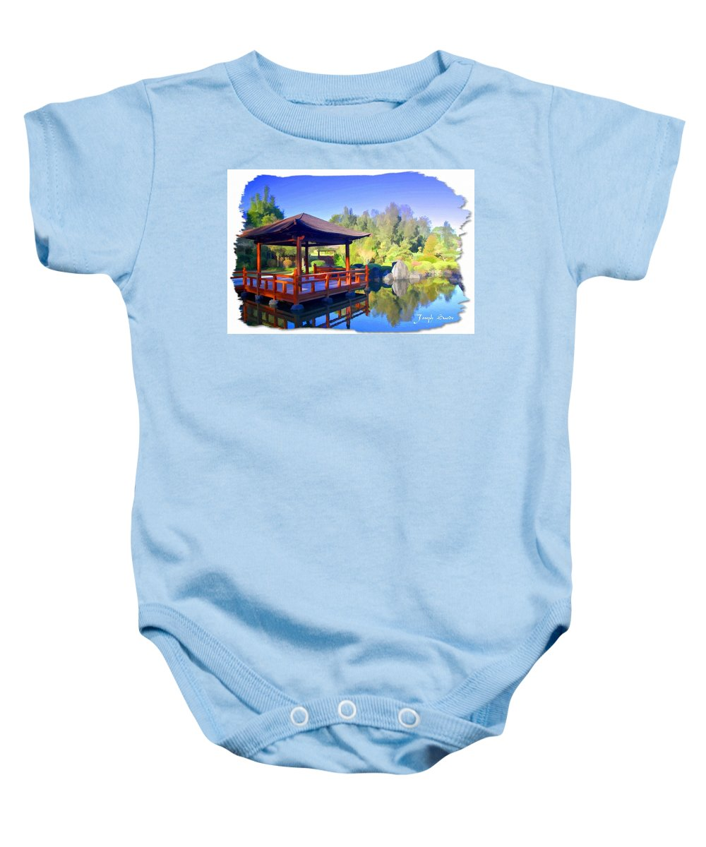 Shinden Style Pavilion Baby Onesie featuring the photograph Do-00003 Shinden Style Pavilion by Digital Oil