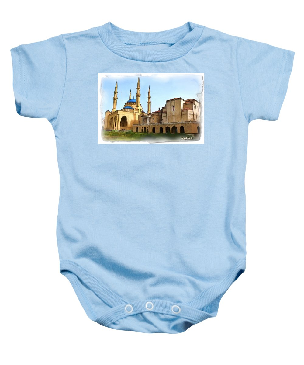 Islam Baby Onesie featuring the photograph Do-00362al Amin Mosque And St George Maronite Cathedral by Digital Oil