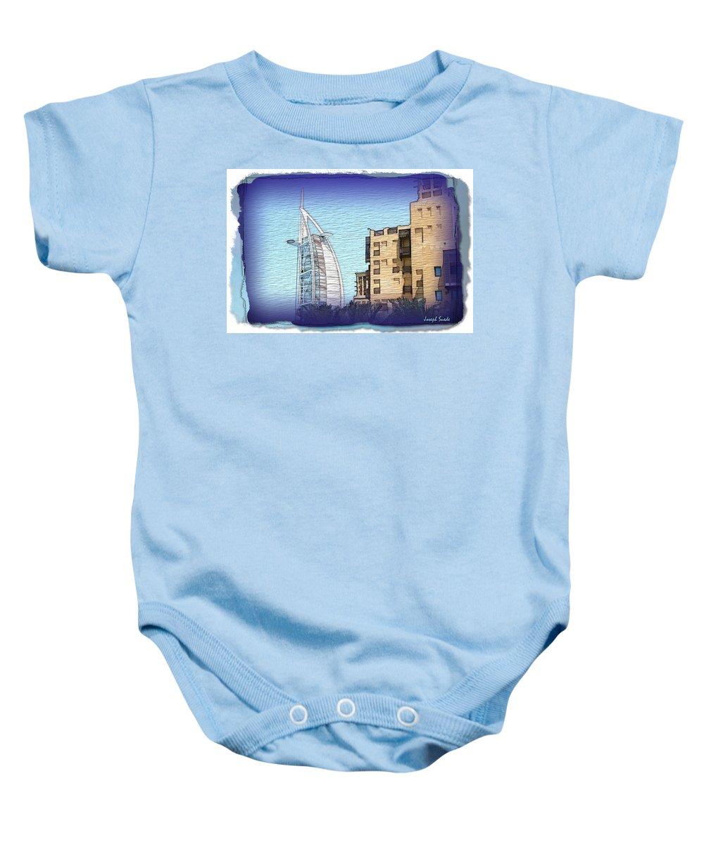 Burj Baby Onesie featuring the photograph Do-00463 Burj Al-arab And Mina Al-salam Hotel by Digital Oil