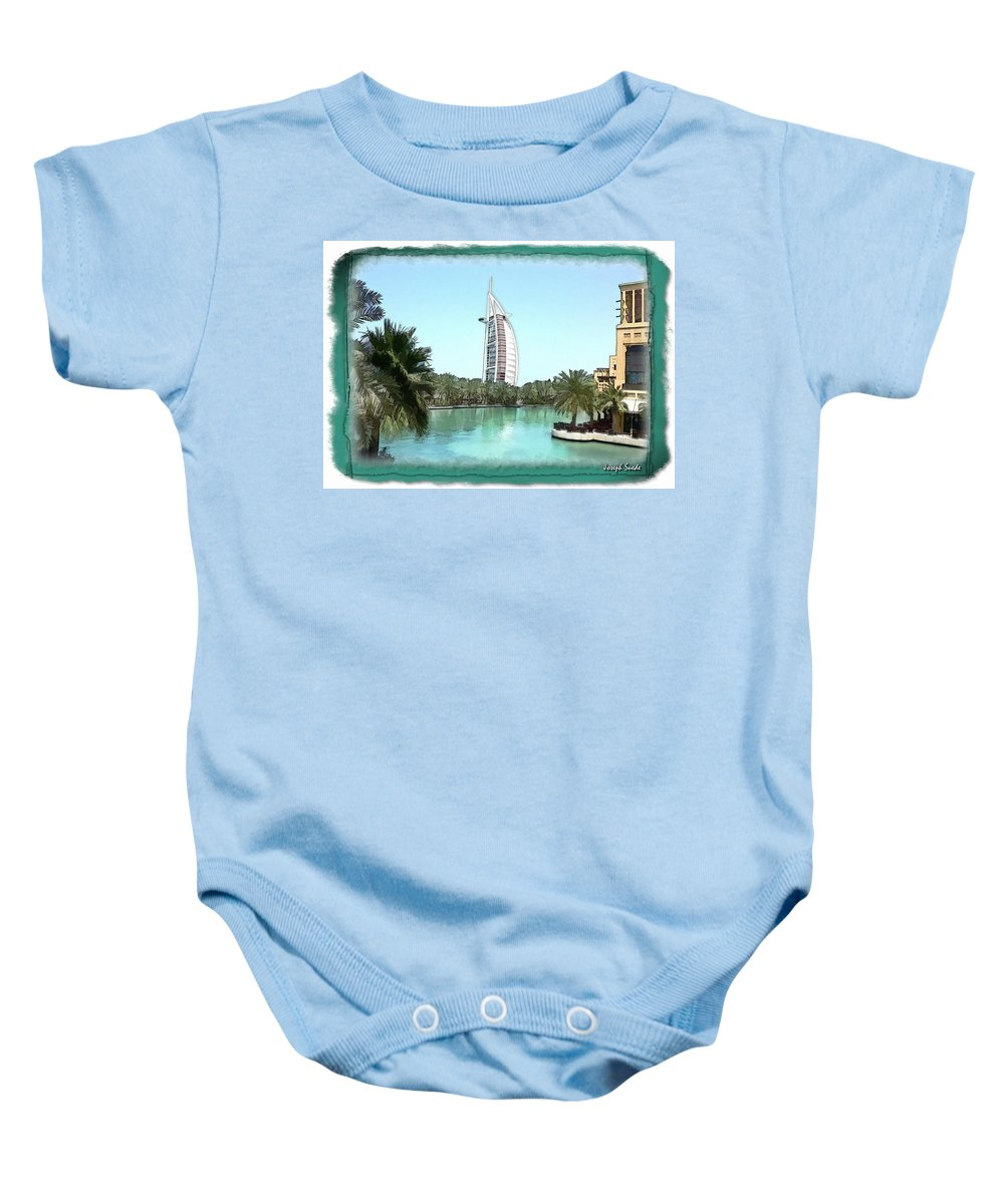 Burj Al-arab Baby Onesie featuring the photograph Do-00464 View Of Burj Al-arab by Digital Oil